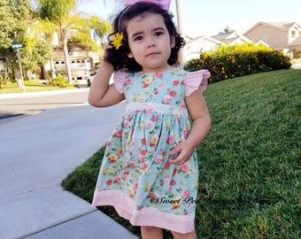 Girls Easter dress, pastel dress, baby dress, girls Floral dress, girls rose dress, pink roses, pink dress, boutique dress, flowered dress