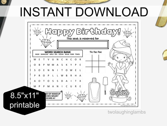 photograph about Tic Tac Toe Printable identified as Instantaneous SPA Social gathering PLACEMAT Gals Printable Recreation Spa