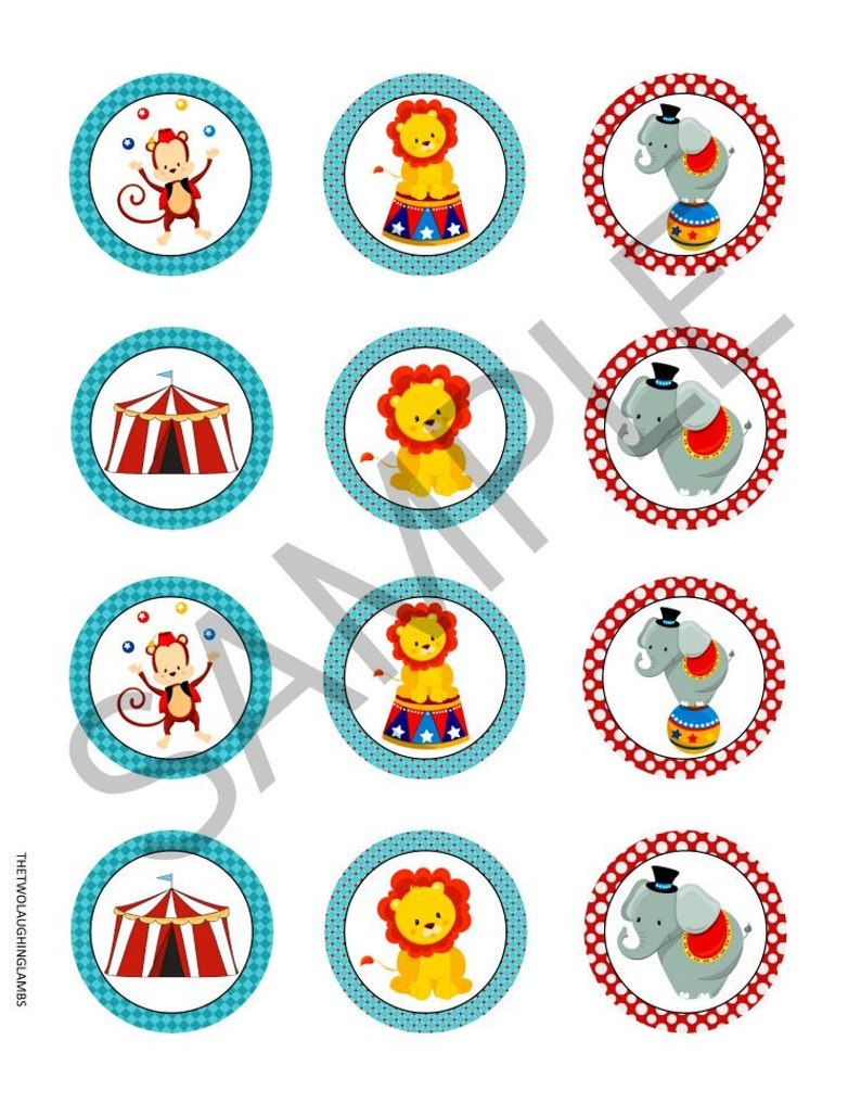 INSTANT DOWNLOAD CIRCUS Cupcake Toppers 2 Circle Circus | Etsy