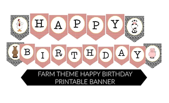 instant farm theme happy birthday printable accent banner by