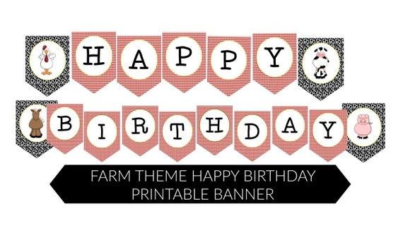 picture about Happy Birthday Printable Banner named Instantaneous FARM Topic Joyful Birthday Printable Accessory Banner as a result of