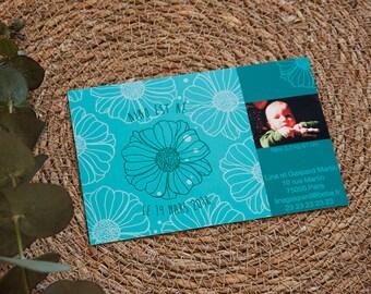 """Faire-part de Naissance illustré """"dessin fleuri et photo du bébé"""", à personnaliser, version bleue"""