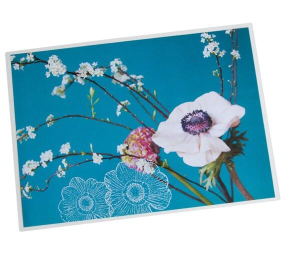set de table plastifi an mones blanches sur fond turquoise etsy. Black Bedroom Furniture Sets. Home Design Ideas