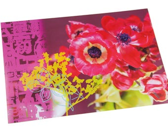 Red anemones laminated table set and Asian graphics