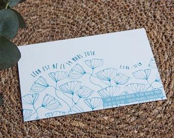 """Faire-part de Naissance """"Frise fleurie"""" illustré, à personnaliser, version bleue"""