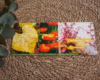 """Faire-part de Naissance """"Photos nature et fleurie"""", feuilles et pavots rouges, à personnaliser"""