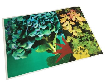 Blue hydrangea laminated table set and foliage