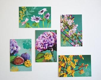 Lot de 5 cartes postales fleurs et fruit fond vert