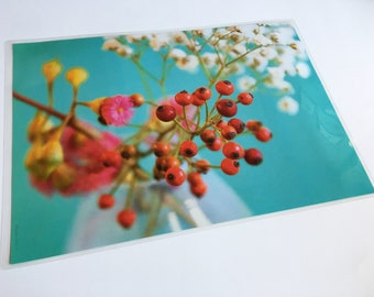 Plastic table set floral photo red balls and gypsophile