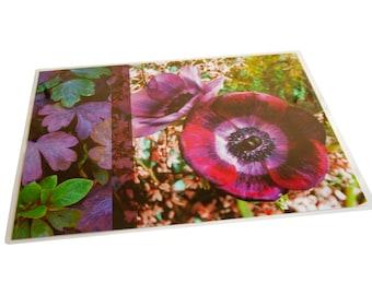 Plastic table set purple anemone and foliage