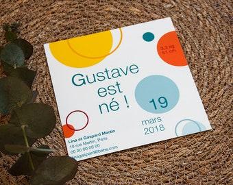 """Faire-part de Naissance illustré """"texte et ronds colorés"""", format carré, à personnaliser"""