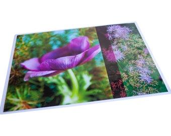 Plastic table set purple anemone green background