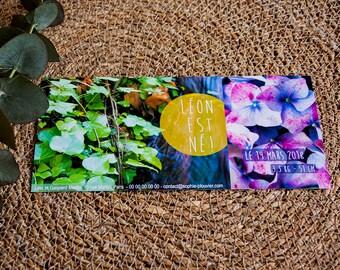"""Faire-part de Naissance """"Photos naturelles et fleuries"""", lierre, eau et hortensia, à personnaliser"""