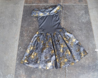 76732dc5ed 90s party dress black gold full skirt