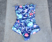 Vintage swimsuit one-piece 80s strapless one piece swim suit navy floral 1990s 1980s summer Small sexy beach vacation S XS