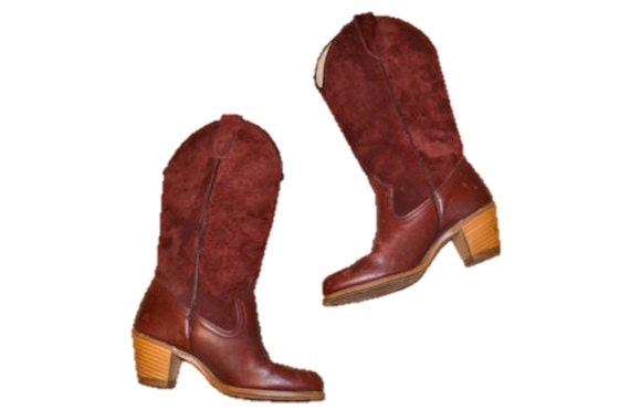 ade7c243022 Vintage cowboy Boots SUEDE leather cordovan color WOLVERINE womens 6  western boots indie casual grunge new wave 70s 80s IndieClothco