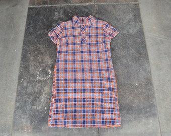 Plaid Autumn Dress | 60's Mod dress | Navy orange plaid dress | Boho dress 1960s style dress | wiggle sheath dress | medium