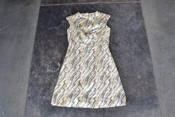 60s dress Vintage metallic dress | silver gold bro