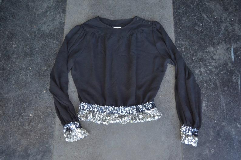 c4405e7cbcc57 Vintage sequin Top black blouson sexy blouse 80s disco top