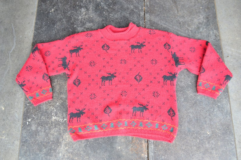 Chunky knit sweater red black tree sweater 90s grunge Pullover Sweater Deer Oversized sweater Wool Christmas Sweater Large