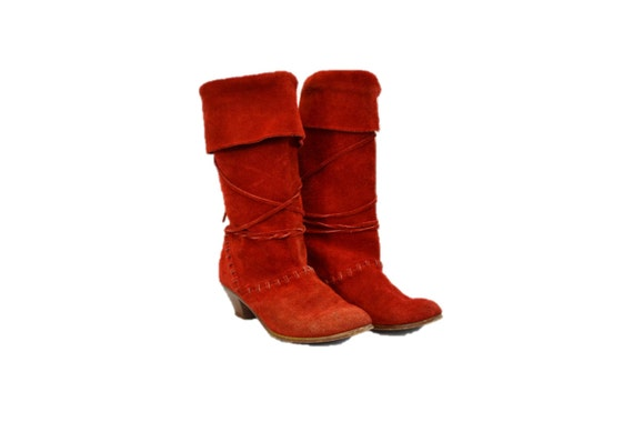 Red suede boots slouchy 80s hipster size 5 6 rando