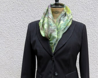 Scarf, shawl, pareo, sharong silk,green, hand painted, gift, unique piece, wearable art.mady in italy