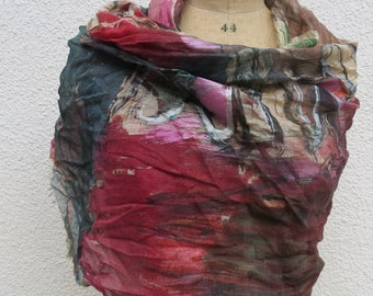 Scarf, shawl, pareo, sharong silk, hand painted, gift, unique piece, wearable art,mady in italy