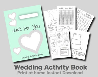 Kids Wedding Activity Book Mint Cover - Print at home PDF kids games and puzzles.