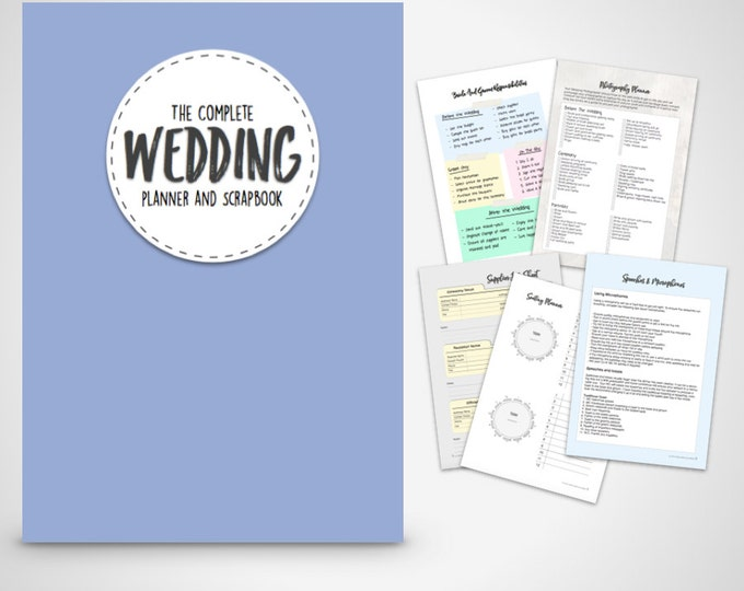 Wedding Planner- printable wedding planner & Scrapbook - Purple Edition  Print at home Digital Download wedding planning ebook