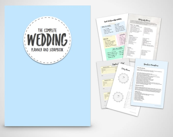 Wedding Planner ebook-The Complete wedding planner in blue Print at home Digital Download