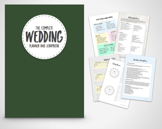 Wedding Planner Binder Printable Evergreen Wedding planner organiser folder, Instant Digital Download,
