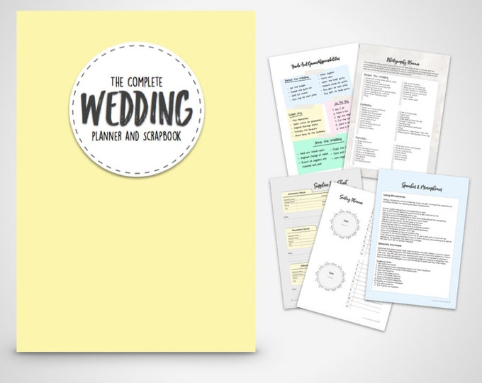 Wedding Planner Binder Printable Yellow and Grey wedding organiser  Folder, Instant Digital Download, Wedding Planner