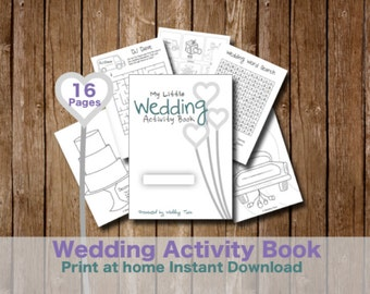 Kids Wedding Activity Book - Print at home kids games and puzzles for weddings