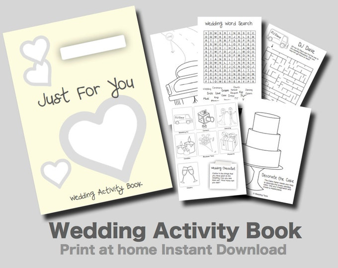 Kids Wedding Activity Book Yellow Cover - Print at home PDF kids games and puzzles.