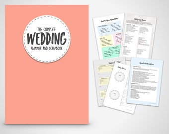 Wedding Planner - Coral printable wedding planner & Scrapbook  Print at home Digital Download wedding planning ebook