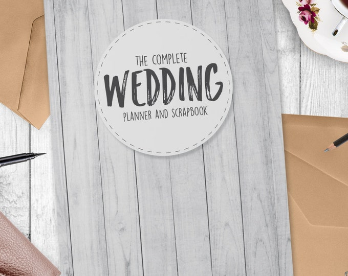 White Wood Grain style  Wedding Planner Book- 124 pages of wedding planning