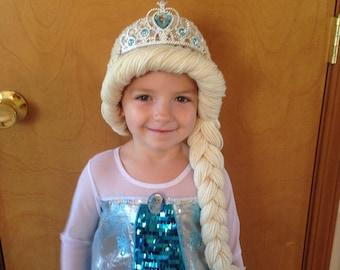 Frozen Snow Queen Elsa Inspired Crochet Hat Yarn Wig Blonde White Braid  Child Toddler Tiara Crown halloween costume christmas birthday gift c6a65c1953a7