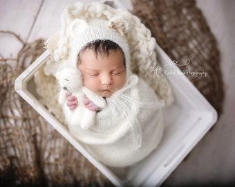 Ivory Cream Fuzzy Furry Knit Teddy Bear Bonnet Wrap Set Newborn Photography  Prop Baby Boy Girl Alpaca Angora Furry Fur ac2264bfcb78