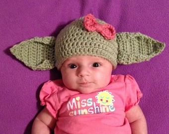 9c7aec73341e0 GIRL Yoda Beanie Hat Baby Newborn Infant Toddler Child Teen Adult Crochet  Green Ears Boy Photography Photo Prop Halloween Costume Star Wars Sc 1 St  Etsy