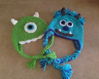 Monsters Inc University U Sulley Sully Mike Wazowski Hat Set Baby Toddler Child Teen Crochet custom made to order Twin Set costume & Sulley costume | Etsy