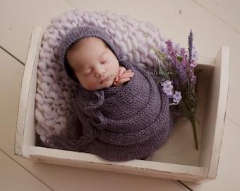 Lilac Lavender Merino Wool Layering Layer Blanket Hand Knit Fuzzy Soft Alpaca Purple Violet Bonnet Wrap Baby Girl Newborn Photography Prop