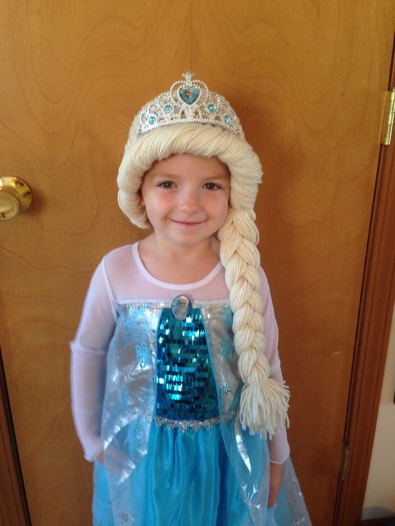 Frozen Snow Queen Elsa Inspired Crochet Hat Yarn Wig Blonde  19f6e9f0cf27