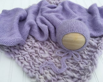 Lavender Knit Thick Thin Merino Wool Layering Bump Blanket Fuzzy Wrap Bonnet Pastel Baby Girl Newborn Photography Prop Set Lilac Soft Purple
