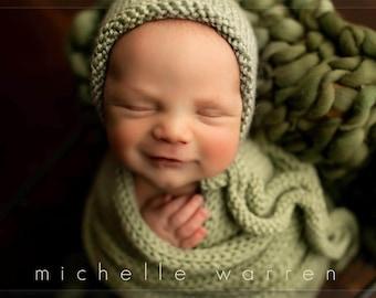 Newborn Photography Prop Set, Knit Bonnet Wrap, Merino Wool Layering Blanket, Olive Sage Hunter Green, Baby Boy or Girl, Knit Tie Bonnet