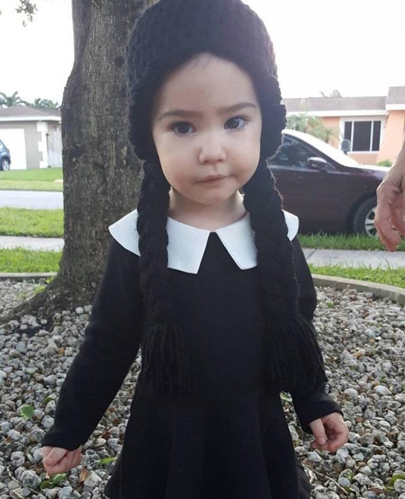 16d8efd27c26 Black Braids Crochet Hat Yarn Wig Infant Baby Child Toddler