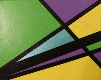 Abstract Colorful Acrylic Painting on Canvas