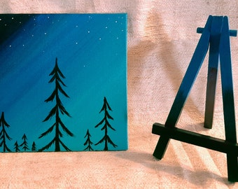 Mini Painting - Trees Under Stars