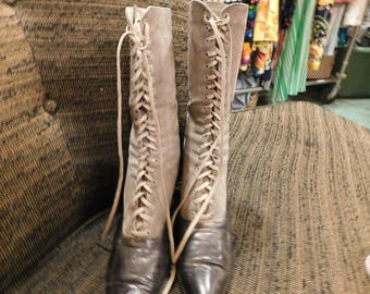 1900 1910 Victorian High Button Boots, antike Knopfstiefel