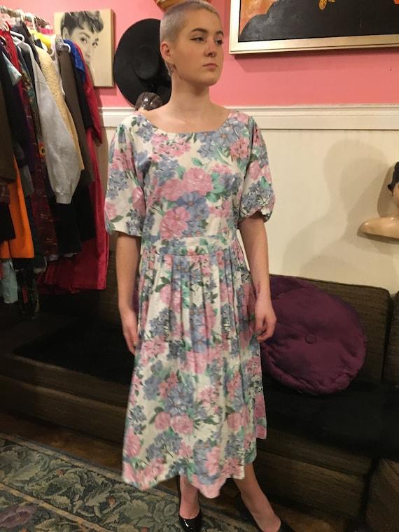 Vintage dress /floral floral dress /size large/co… - image 2
