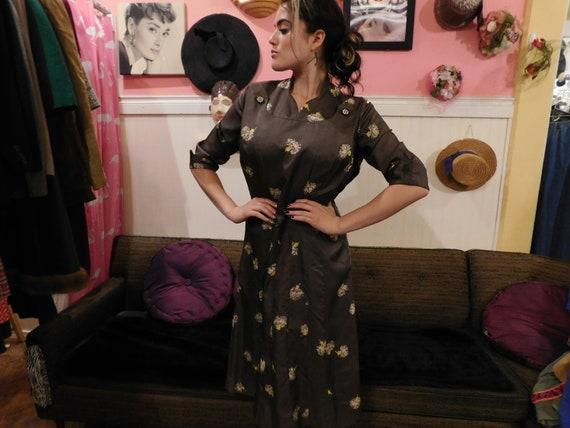1949's dress/ Plus size / Silky Rayon /